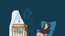 Cette BD illustre le fossé qui sépare l'idée de la maternité et la réalité du post