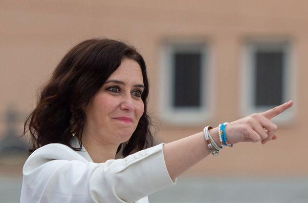 La presidenta de la Comunidad de Madrid, Isabel Díaz Ayuso, durante un evento de campaña...