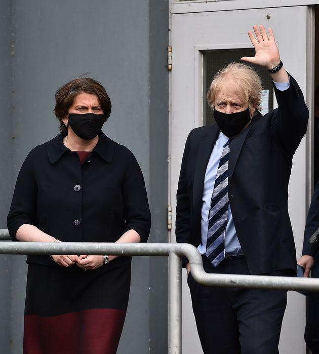 Prime Minister Boris Johnson alongside Northern Irish first minister Arlene