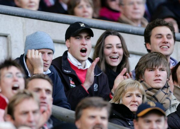 Kate spends time with William and his brother, Prince Harry, while cheering on England at a February 2007 rugby championship