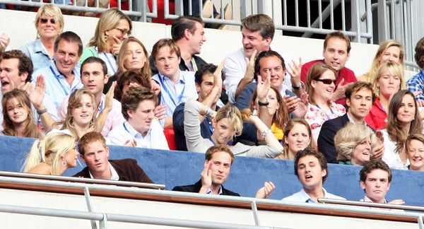 After a brief breakup in the spring of 2007, William and Kate (seen here sitting in first and third rows, respectively) reuni