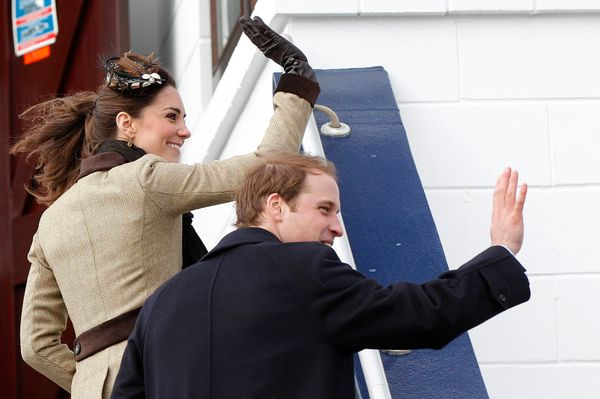 The couple wave to well-wishers after attending a naming ceremony for a new royal lifeboat in February 2011. It was thei