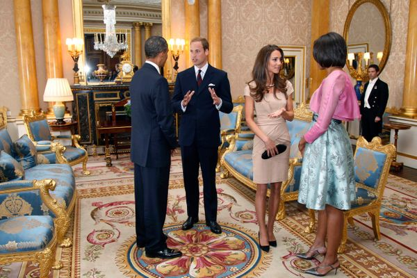 A month after their nuptials, Will and Kate meet with then-President Barack Obama and first lady Michelle Obama at Bucki