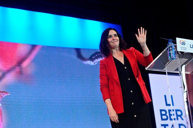Isabel Díaz Ayuso en un acto de campaña en