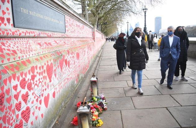 Mayor of London Sadiq Khan by the National Covid Memorial Wall on the Embankment in