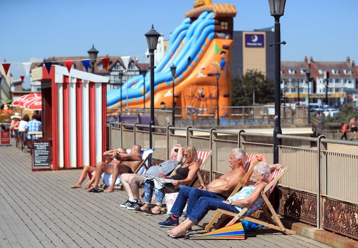 People sunbathing in Skegness.