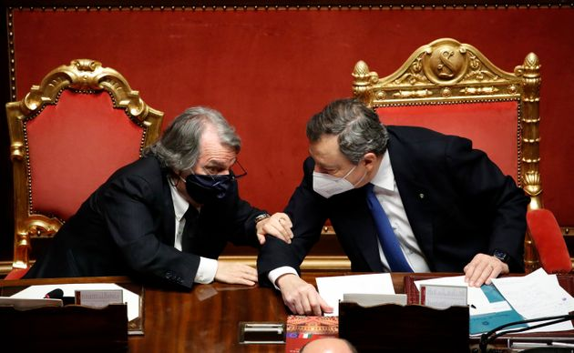 Minister of Public Administration Renato Brunetta and the Italian Prime Minister Mario Draghi during...