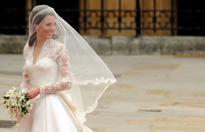 Kate Middleton arrives at the West Door of Westminster Abbey in London for her wedding to  Prince William, on April 29, 2011.