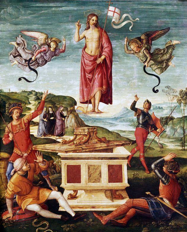 """Ραφαήλ, <i>Η Ανάσταση του Χριστού</i>, 1501-2, λάδι σε ξύλο, 52 x 64 εκατ., Museu de Arte de São Paulo, Brasil"""" data-caption=""""Ραφαήλ, <i>Η Ανάσταση του Χριστού</i>, 1501-2, λάδι σε ξύλο, 52 x 64 εκατ., Museu de Arte de São Paulo, Brasil"""" data-rich-caption=""""Ραφαήλ, <i>Η Ανάσταση του Χριστού</i>, 1501-2, λάδι σε ξύλο, 52 x 64 εκατ., Museu de Arte de São Paulo, Brasil"""" data-credit=""""DEA / G. DAGLI ORTI via Getty Images"""" data-credit-link-back="""""""" /></p> <div class="""
