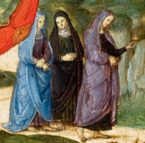 Ραφαήλ, Η Ανάσταση του Χριστού, λεπτομέρεια: οι τρεις γυναίκες στο κατά Μάρκον Ευαγγέλιο (16: