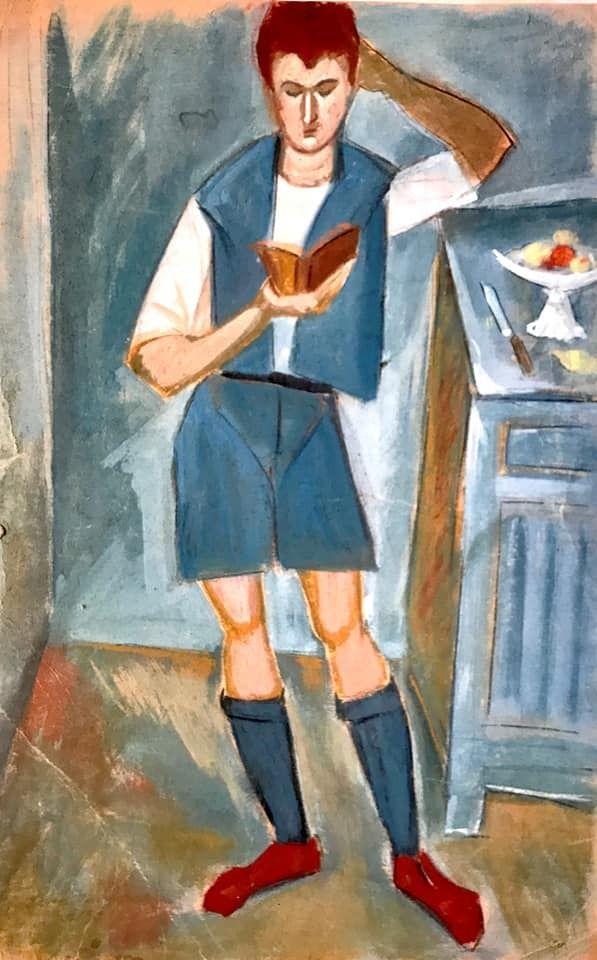 Παιδί που διαβάζει τη Σύνοψη, νεανικός πίνακας του Δανιήλ, αναφορά στον Κόντογλου (γκαλερί