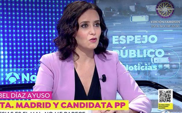Isabel Díaz Ayuso, en 'Espejo Público' (Antena