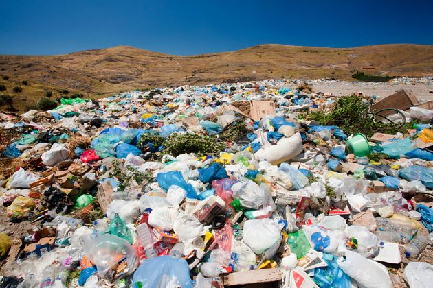 A landfill site in Eresos, Lesbos, Greece. As many islands, rubbish is a problem with no recycling taking