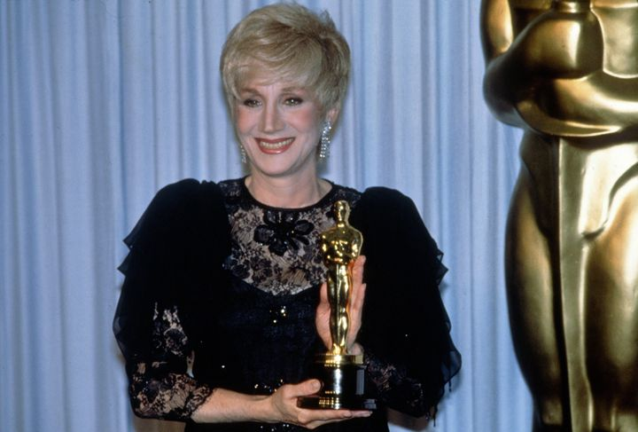 Olympia Dukakis with her Best Supporting Actress Oscar statuette at the 60th Academy Awards in 1988. (Photo by Miguel Rajmil/