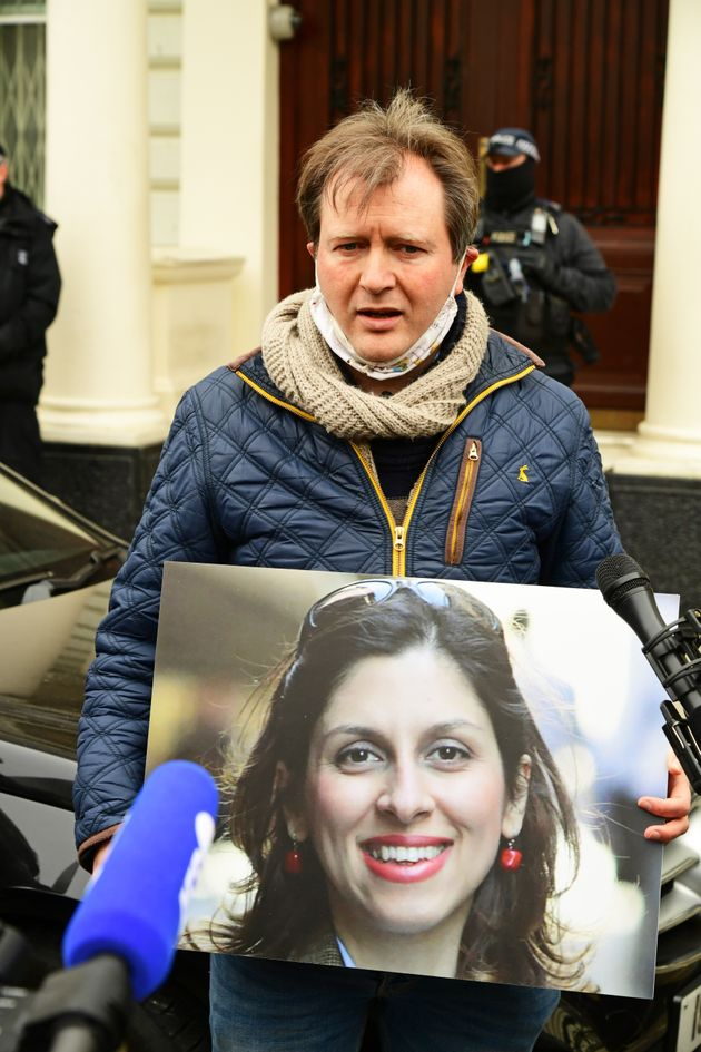 Richard Ratcliffe, the husband of Nazanin Zaghari-Ratcliffe, takes part in a protest outside the Iranian...