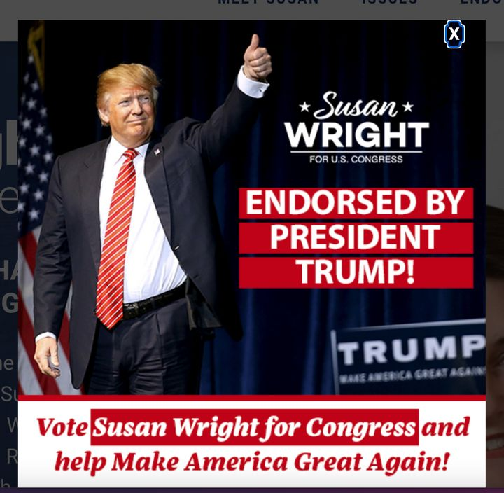 A pop-up boasting about former President Donald Trump's endorsement of Susan Wright appears on her campaign website.