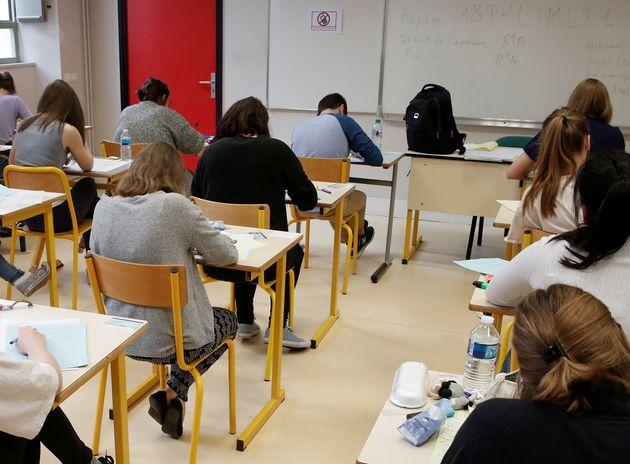 Une classe de lycéens lors des épreuves du baccalauréat en juin 2018 , à