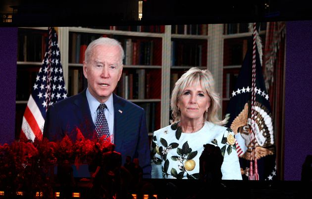 INGLEWOOD, CALIFORNIA: In this image released on May 2, (L-R) United States President Joe Biden and First...