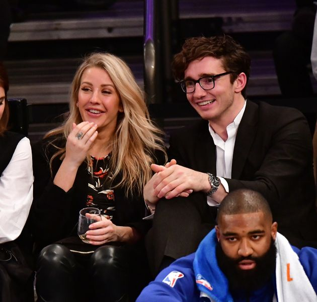 Ellie Goulding and Caspar Jopling at a basketball game in