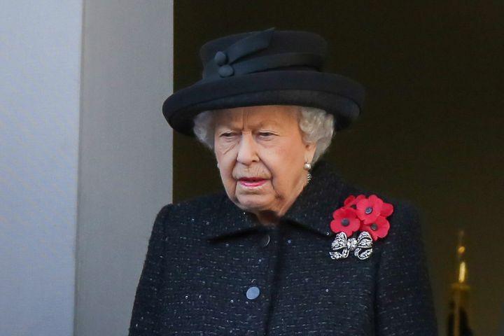 La reina de Inglaterra en el Día del Recuerdo de 2019.