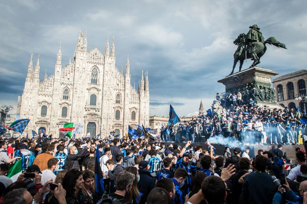MILAN, ITALY - MAY 02: FC Internazionale fans celebrate winning the Serie A Scudetto Title on May 02,...