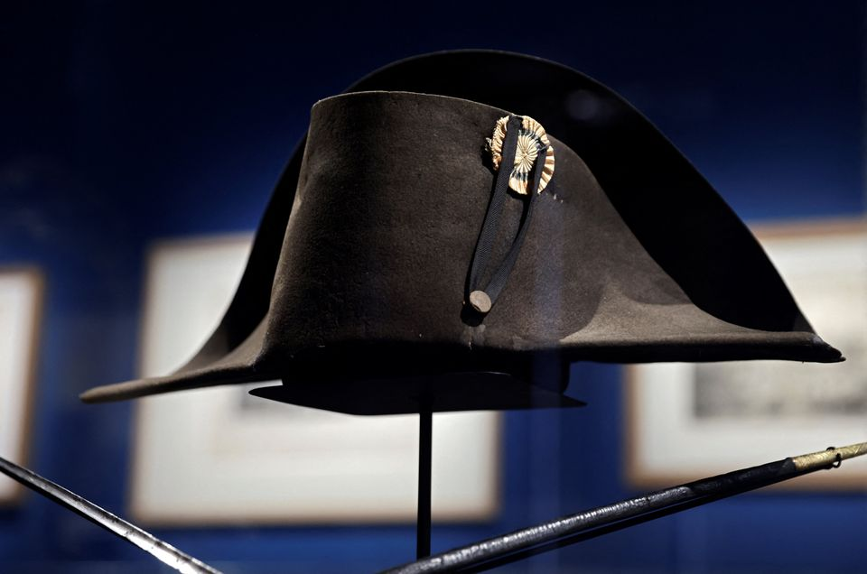 A picture taken on April 7, 2021, shows the bicorn hat of French Emperor Napoleon I displayed at the...