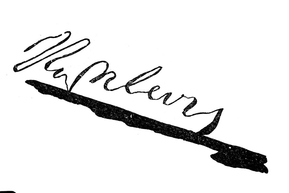 Signature, handwriting of Napoleon / Unterschrift, Handschrift von Napoleon I, Historisch, historical,...