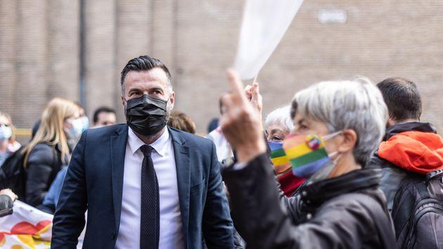 28/04/2021 Roma, Corso Vittorio, sit-in a favore della legge contro l'omotransfobia, nella foto Alessandro