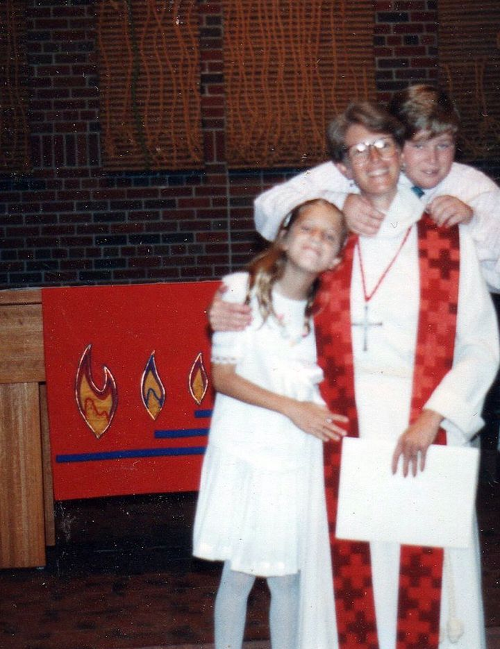 The author on ordination day with her son, Liam, and daughter, Maggie, at Trinity Lutheran Seminary, Bexley, Ohio (1993).