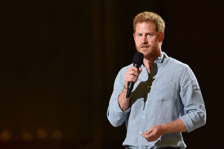 """Prince Harry speaks onstage during Global Citizen """"Vax Live: The Concert to Reunite the World"""" at SoFi Stadium in Inglewood,"""
