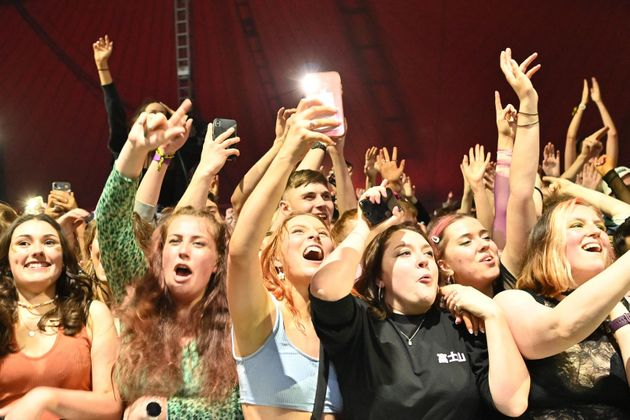 Fans watch Blossoms perform at a live music concert hosted by Festival Republic in Sefton Park in
