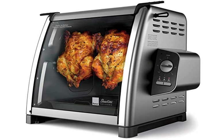"""<strong><a href=""""https://amzn.to/3eeu2xr"""" target=""""_blank"""" rel=""""noopener noreferrer"""">Get the Ronco Showtime Large Capacity Rotisserie &amp; BBQ Oven Modern Edition for $169.99</a>.</strong>"""