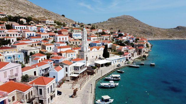 The town of Halki on the island of Halki,