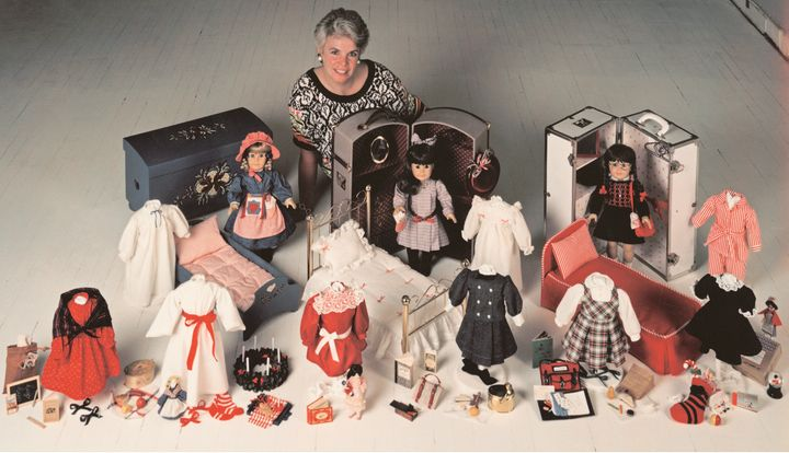 American Girl founder Pleasant Rowland with the first three dolls -- Kirsten Larson, Samantha Parkington and Molly McIntire -- which were introduced in 1986.