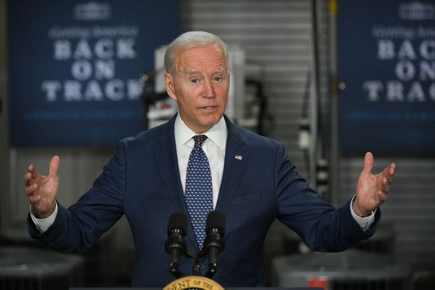 US President Joe Biden speaks on the American Jobs Plan, following a tour of Tidewater Community College...