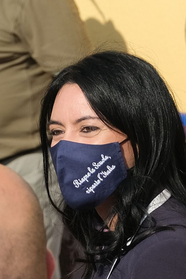 Italy's Public Education Minister Lucia Azzolina arrives, on the occasion of the reopening of schools...