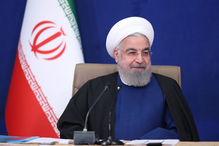 Iranian President Hassan Rouhani speaks during a meeting on talks in Vienna and nuclear deal in Tehran, Iran on April 20, 202