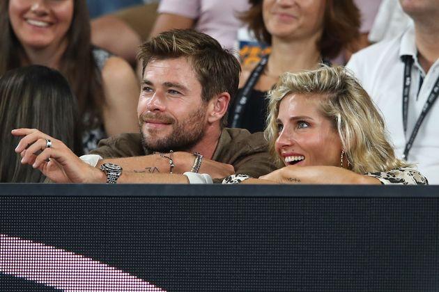 Chris Hemsworth y Elsa Pataky en el Open de Australia en