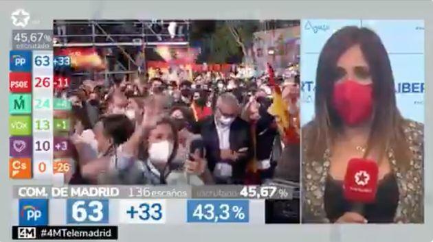 Una reportera de Telemadrid habla desde la calle