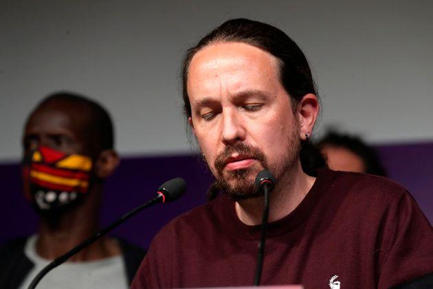 El líder de Unidas Podemos y candidato a la presidencia de la Comunidad de Madrid, Pablo Iglesias,...
