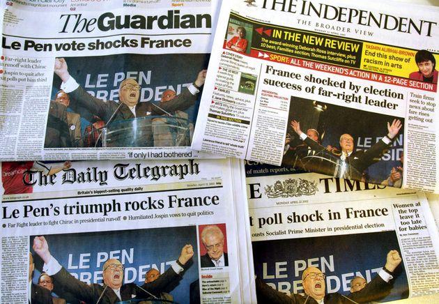 Au Royaume-Uni au lendemain du premier tour de l'élection présidentielle de 2002 en France,...