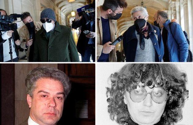 Giorgio Pietrostefani e Marina Petrella. In alto mentre vanno alla Corte d'Appello di Parigi per l'inizio...