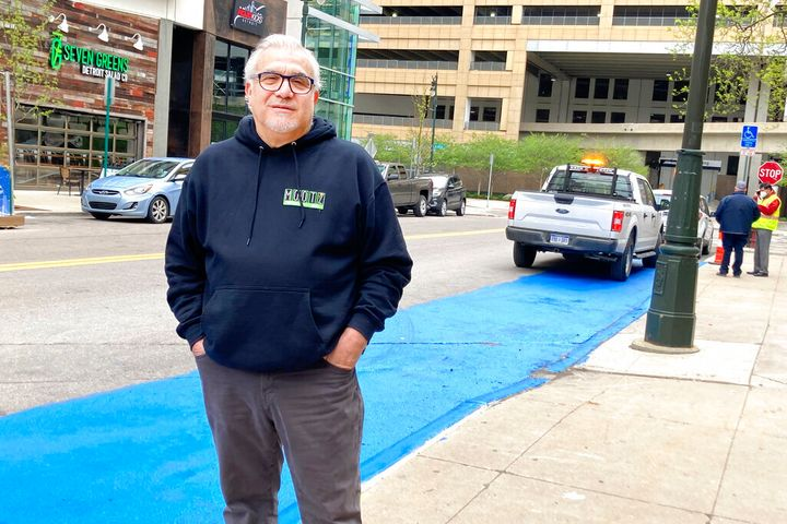 Tony Sacco, co-owner of Mootz Pizzeria and Bar in Detroit, stands on Library Street near his restaurant Wednesday, May 5, 202