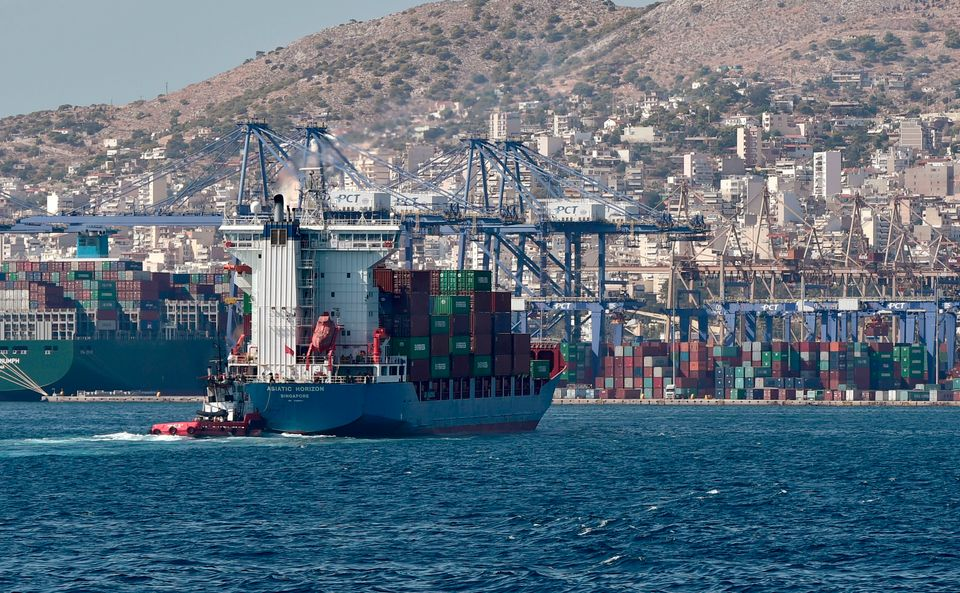 A picture taken on September 20, 2017 shows a view of the container terminal in the port of Piraeus....