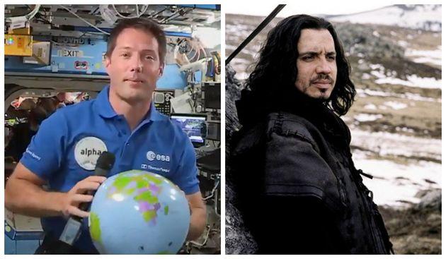 A droite : Thomas Pesquet à bord de l'ISS, le 30 avril 2021. A gauche : Alexandre Astier lors du tournage...