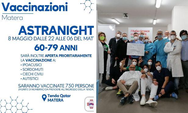 Il manifesto della AstraNight di Matera; il personale dell'open day svoltosi a