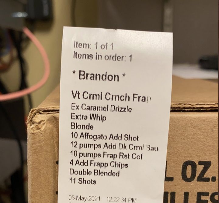 Victoria, a Starbucks shift supervisor in Virginia, shared a recent example of an elaborate coffee order with 21 espresso shots she received.