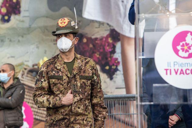 Francesco Paolo Figliuolo General of the Italian Military Army visits the new Lingotto Covid 19 Vaccination...