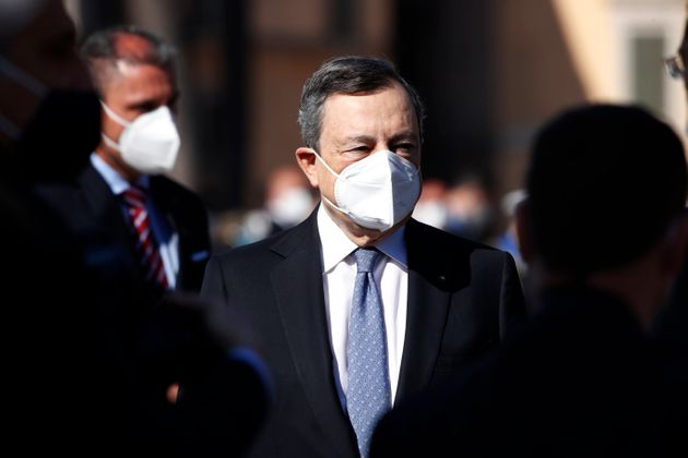 Altar of the Fatherland: Celebrations of April 25th. In the photo the Prime Minister, Mario Draghi. Rome...