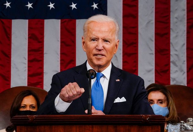 WASHINGTON, DC - APRIL 28: U.S. President Joe Biden addresses a joint session of Congress as Vice President...